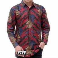 Kemeja Batik Lengan Panjang Motif Terbaru dari batik alka - Merah, M