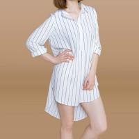 Kakuu Basic - Unbalance Stripe Shirt Dress