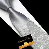 dasi pria import slim silver abu batik platinum class