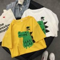 [Bayar Di Tempat]Kaos T-Shirt Wanita Lengan Pendek Model Raglan