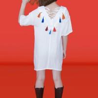 Kakuu Basic - Lace Up Tassel Dress