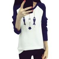 Kaos T-Shirt Wanita Casual Lengan Raglan Panjang Gambar Kartun Ikan