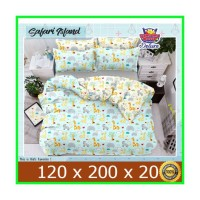 JUAL BED COVER SET BAHAN KATUN STAR MOTIF ANAK SAFARI 120x200