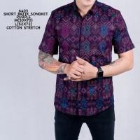 Kemeja Pendek Batik Pria Cowok Batik Songket Ungu Purple Slimfit
