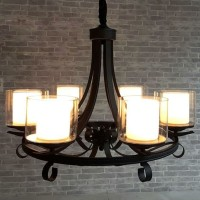 Lampu gantung RETRO INDUSTRIAL DOUBLE GLASS cabang 6 ARMS chandelier