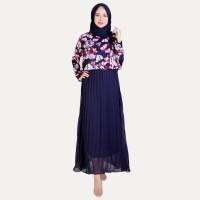 Long Dress gamis Lengan Panjang Sifon Muslimah - Jfashion Elois bunga