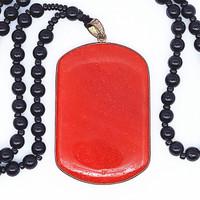 Kalung Liontin Batu Giok Kotak - VeE Kalung Pendant Kesehatan - Hoki