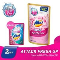 ATTACK FRESH UP SOFTENER SAKURA 800+100ML + Free Gift