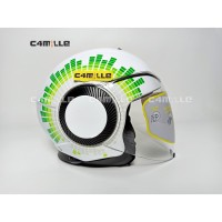 HELM AGV ORBYT GINZA WHITE ITALY TOP DD RING DOUBLE VISOR HALF FACE