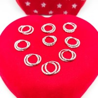 Anting ring ukir bayi&anak perak 925/silver asli lapisan emas putih24k