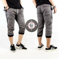 Celana joger pocket pendek pria original - Abu, S