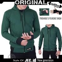Jaket Sweater Polos Roundhand Zipper Hoodie Green Full Premium