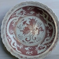 Piring Merah naga Yuan Dinasti