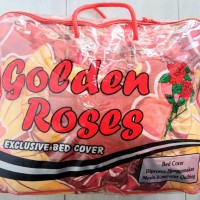 Bed Cover Golden Roses Set Motif Bunga King Size 180x200