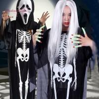 TG Set Kostum Cosplay Halloween Tulang Tengkorak Topeng untuk Pria Wan