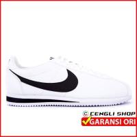 Sepatu NIKE Putih Hitam Original Classic Cortez Kulit