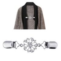 Chain Pearl Cardigan Clip Women Sweater Blouse Shawl Blouse Collar