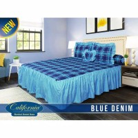 Sprei rumbai California size king 180x200 motif BLUE DENIM