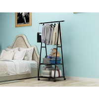 Triangle Stand Hanger Rak Buku Rak Pakaian Baju Rak Serbaguna 4 Roda