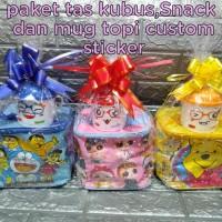 paket souvenir ulang tahun tas kubus,Snack dan mug topi custom
