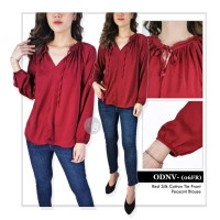 Blouse Wanita Branded- 26173- 26174- 23aa-old-mr- red silky