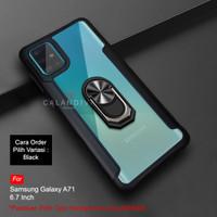 Calandiva Samsung A71 Hard Case Casing Ring Transparent Airbag Hybrid