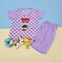 Baju Setelan Catur Anak Perempuan Bordir LOL
