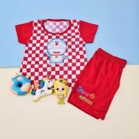 Baju Setelan Catur Anak Perempuan Bordir Doraemon