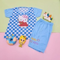 Baju Stelan Catur Anak Perempuan Bordir Hello Kitty Bordir