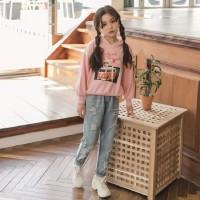 Sweater Hoodie Anak Perempuan 2-9 Tahun/ Pink Sky & We In The Sunset