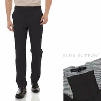 BlueButton Celana Bahan Formal Kerja Kantor Hitam Polos Reguler Fit