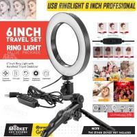 Ring Light LED 16cm + Tripod for Selfie Vlogging, Live Stream, Makeup