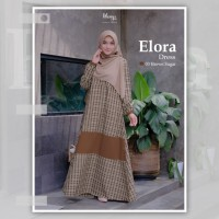 KHAIYA ELORA DRESS 03 BROWN SUGAR GAMIS ONLY bahan kasmira motif kotak - 03 Brown Sugar, M