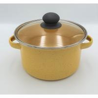 Panci enamel 20 cm Marble kuning / Dutch Oven enamel 20 cm