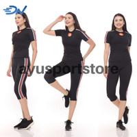 Pakaian olahraga wanita baju senam aerobic jumbo warna hitam - Hitam, S