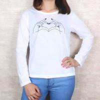 HN - Baju Kaos Wanita Lengan Panjang Motif Love Hand
