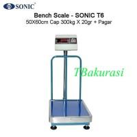 Timbangan Laundry Digital,Bench Scale Sonic T6 Cap 300kg + pagar