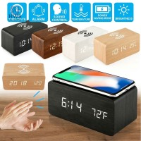 Wooden Digital LED Desk Alarm Clock Thermometer Qi Wireless Charger