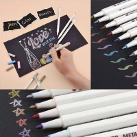 10 Colors/Lot Metallic Marker Pen DIY Scrapbooking Crafts Soft Brush