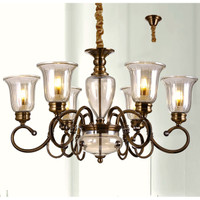 Lampu gantung CLASSIC COLONIAL cabang 6 ARMS ANTIQUE BRASS chandelier