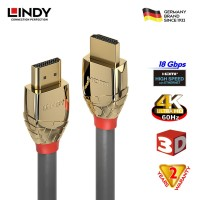 LINDY #37861 High Speed HDMI Cable, Gold, 1m