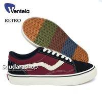 Sepatu Ventela Retro 77 Black Maroon / Ventela retro Black Maroon low