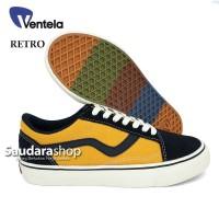 Sepatu Ventela Retro 77 Black Yellow / Ventela retro Black Yellow low