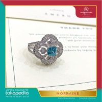 Cincin Morraine Square Ring 4D by AMERO emas putih ring size 15