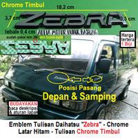emblem tulisan logo depan & samping daihatsu zebra chrome timbul 1 pcs
