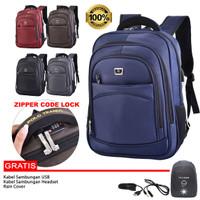 Polo Trands Backpack / Tas Ransel 36175 Dengan Lock Nomor Retslleting - Biru