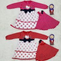 Baju Gamis Muslim Anak Bayi Perempuan Hellokitty Polka Pita