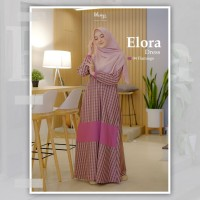 KHAIYA ELORA DRESS 04 FLAMINGO GAMIS ONLY bahan kasmira motif kotak - Merah Muda, M