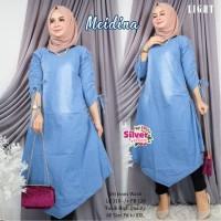 baju wanita long tunik jeans muslim real pict-meidina