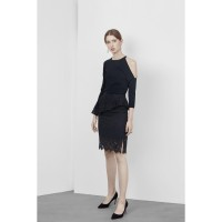 Camelia - Rok Wanita / Skirt Brukat Black Office Look High Quality